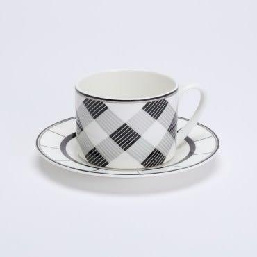 HOLA 香頌骨瓷直身杯碟組 格紋