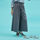 【Tiara Tiara】復古風綁帶鬆緊腰寬褲(藍/灰)