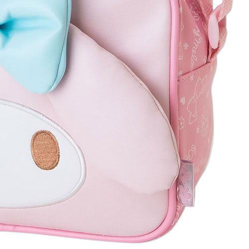 【震撼精品百貨】My Melody 美樂蒂~美樂蒂女童用大臉造型PU皮革斜背包(藍蝴蝶結)