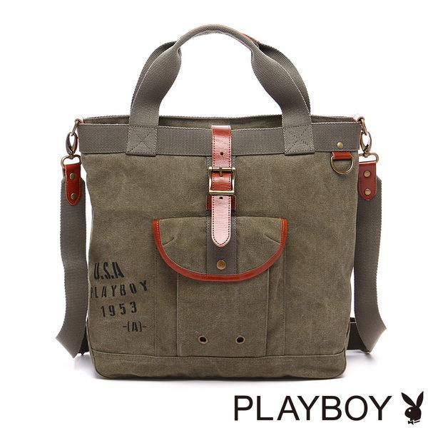 PLAYBOY- Soldier Rabbit 軍風兔系列 2WAY手提包-綠色