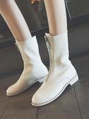 新款馬丁靴女英倫風秋季學生前拉鍊短靴韓版ins網紅百搭靴子