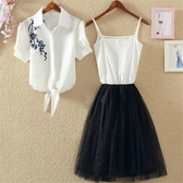 洋裝 套裝裙 2020夏裝韓版潮短袖刺繡襯衫背心裙兩件套裝連身裙