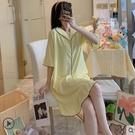 睡衣 睡裙女寬鬆夏季短袖可愛黃色簡約學生花邊韓版睡衣薄款休閒家居服