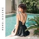 連身泳衣女夏2021年新款時尚黑色遮肚子露背保守遮肚顯瘦大碼胖mm 小艾新品