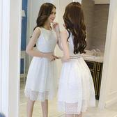 無袖洋裝 蕾絲韓版收腰白色背心裙
