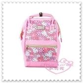 ♥小花花日本精品♥ Hello Kitty 大魚口背包 後背包 雙肩包 手提包 粉色滿版圖 大臉蝴蝶結 10024706