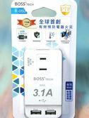 BOSS 3插2P分接式高溫斷電USB插座【04282527】電線插座 防火插座《八八八e網購【八八八】e網購