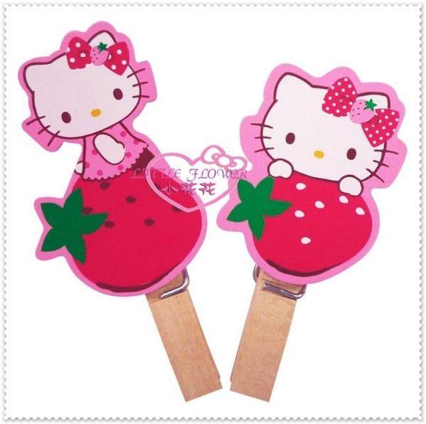 小花花日本精品♥Hello Kitty 曬衣夾 文具夾 萬用夾 曬衣夾 零食夾 發票夾 造型夾 粉色側姿草莓