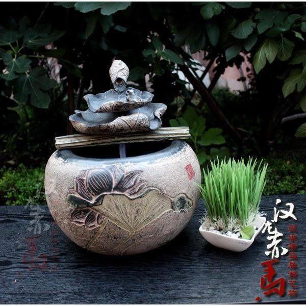 中國風格擺件家居風水魚缸池-荷香噴泉