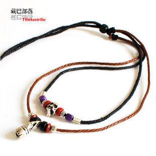 雙層油麻繩藏銀骷髏頭桃木中長款繩編項鏈