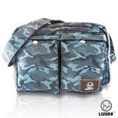 ~禾雅~LIUKOO 戰地叢林彩系列雙口袋 防潑水中容量側背包~沉穩藍~
