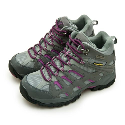 LIKA夢 GOODYEAR 固特異專業多功能郊山防水戶外健行鞋 EXPLORER W 野外探索系列 灰紫黑 82518 女