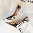 2020春夏季新款銀色少女側空法式高跟鞋細跟百搭性感尖頭網紅單鞋 依凡卡時尚