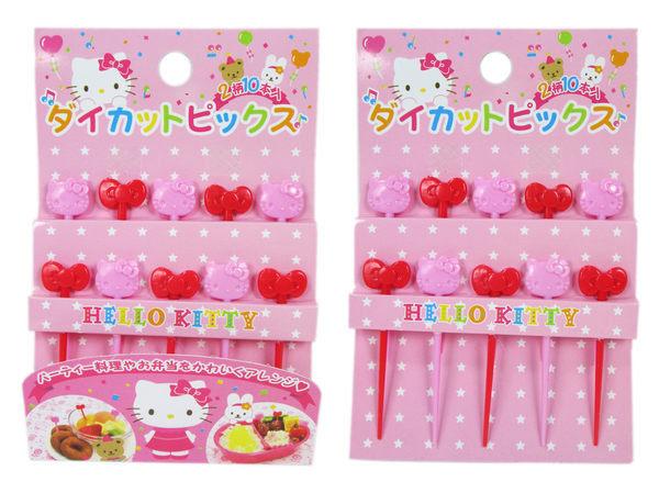 【卡漫城】 Hello Kitty 造型 水果叉 20入 ㊣版 小叉子 蛋糕叉 點心叉 可愛 蝴蝶結