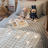 Cube&Line【床包灰線條】D2雙人床包雙人薄被套4件組  四季磨毛布 北歐風 台灣製造 棉床本舖