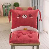 坐墊 可愛卡通連身坐墊護腰靠墊背一體辦公室加厚學生餐椅子屁股座椅墊 3色