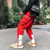 嘻哈ins工裝褲男束腳褲潮牌多口袋褲子男休閒褲寬鬆窄管褲束腿褲 【全館免運】
