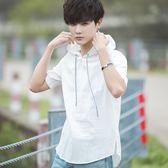 春夏連帽韓版男士寬鬆短袖T恤學生小清新五分袖七分袖T恤