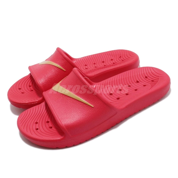 Nike 拖鞋 Kawa Shower 紅 金 防水 大勾勾 Logo 男鞋 女鞋 基本款 【ACS】 832528-602