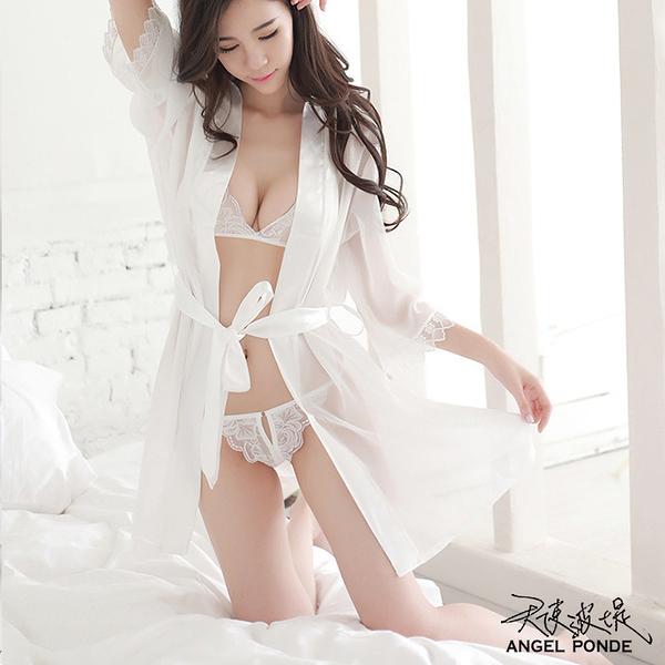 天使波堤【LD0164】開檔三點式情趣內衣超薄浴袍連身大尺碼居家罩衫大腿襪女僕角色服-白色(三色)