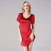 睡衣-真絲裙裝短袖純色高貴優雅修身女居家服3色73nq54【時尚巴黎】