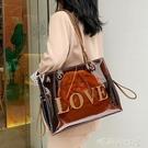 單肩大包包洋氣女包2020夏季新款潮韓版百搭大容量托特包透明包包「時尚彩紅屋」