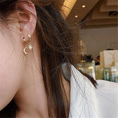 耳環 個性 星星 月亮 吊墜 不對稱 耳圈 耳環【DD1904284】 BOBI  07/25