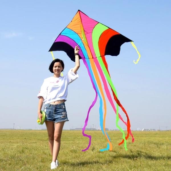 新款兒童三角飛天彩虹大型成人傘布微風易飛長尾線輪套裝