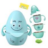兒童碗 兒童餐具吸盤碗防摔嬰兒碗勺套裝寶寶輔食碗不銹鋼注水保溫吃飯碗 99免運 萌萌