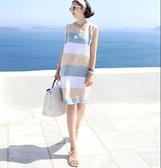 無袖洋裝 條紋拼色女裝韓版棉麻撞色無袖大碼背心裙中長款小清新 格蘭小舖