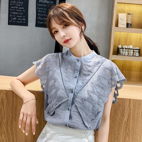 夏季時尚氣質雪紡襯衫短袖蝴蝶袖2021年春夏裝新款韓版女裝洋氣小清新上衣服小衫潮