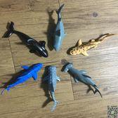 動物模型 軟膠仿真海洋生物動物模型玩具大白鯊魚虎鯨巨齒鯊鯨鯊旋齒鯊套裝T