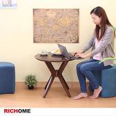 【RICHOME】英倫現代小圓茶几胡桃色