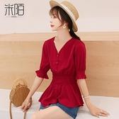 泡泡袖洋裝 紅色短袖t恤女裝夏裝2021年新款潮短款收腰上衣服春季雪紡打底衫 美物