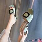 熱賣高跟拖鞋 網紅高跟涼拖鞋女夏季外穿2021新款時尚中跟粗跟仙女一字拖ins潮【618 狂歡】