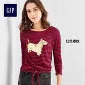 Gap女裝 舒適印花長款長袖T恤  265908-紅色條紋