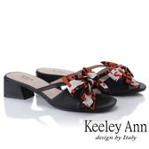 ★2019春夏★Keeley Ann細條帶 緞帶蝴蝶結低跟拖鞋(黑色) -Ann系列
