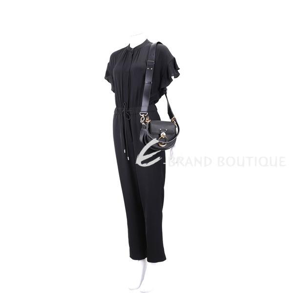 CHLOE Tess 小型 荔紋牛皮肩背/斜背包(黑色) 1940426-01