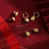 原創有錢系列珍珠元寶耳環個性長款耳線女簡約中國風氣質新年耳飾
