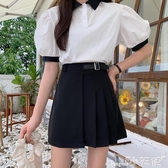 百摺裙2020新款裙子高腰半身裙黑色百摺裙女夏季包臀裙顯瘦a字裙a型短裙 小天使
