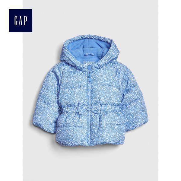 Gap女嬰兒 舒適保暖長袖拉鏈棉服外套 473977-摩爾藍色