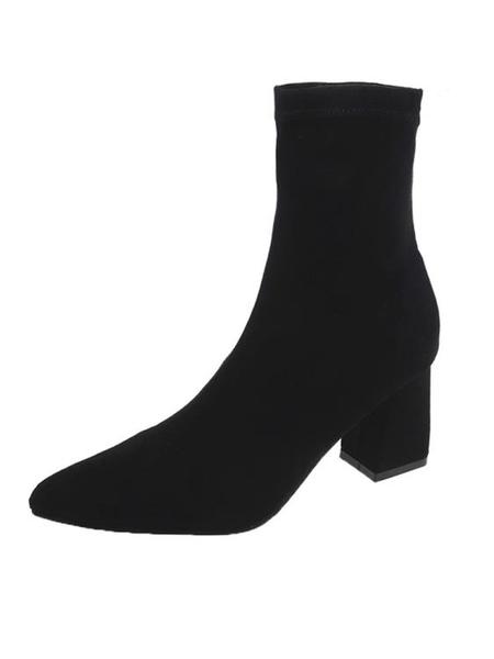 短靴女新款秋冬季粗跟黑色高跟英倫風港味馬丁襪靴瘦瘦彈力靴 伊衫風尚