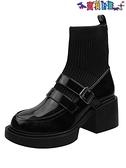 踝靴 襪靴女2021年秋季新款皮帶扣粗跟時尚百搭英倫風短筒瘦瘦靴【秋冬大上新】