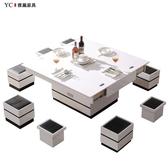 多功能茶几 升降茶幾簡約現代小戶型客廳折疊茶幾餐桌兩用多功能電動升降茶幾  交換禮物DF