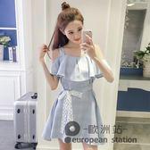 洋裝/新款韓版女裝收腰荷葉邊夏款裙子一字領露肩吊帶小清新連身裙「歐洲站」
