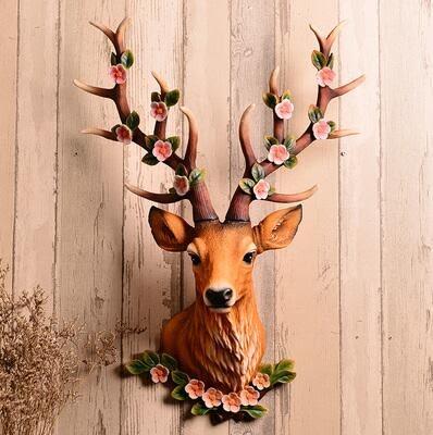 【彩虹部落】鹿頭壁掛壁飾仿真動物頭復古酒吧客廳招財創意挂件牆飾裝飾品招財梅花鹿