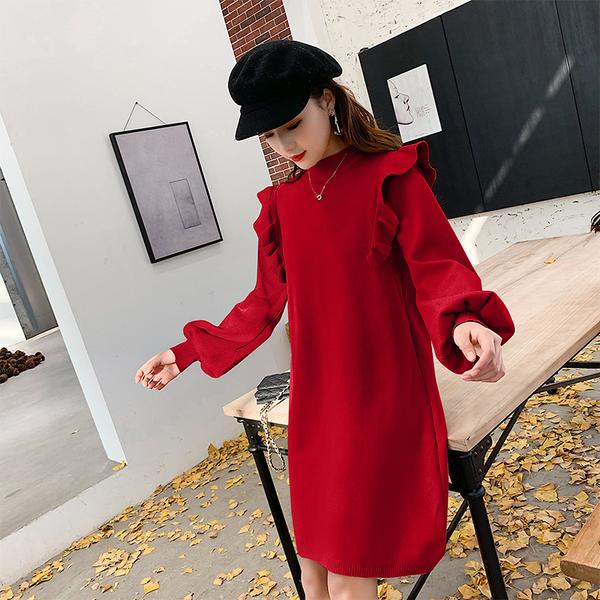 絕版出清 韓系雙肩木耳邊復古燈籠袖毛衣針織長袖洋裝