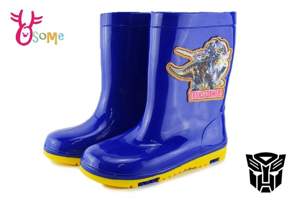 Transformers變形金剛 防滑雨鞋 中童 MIT 台灣製 雨鞋 K7449#藍色◆OSOME奧森鞋業