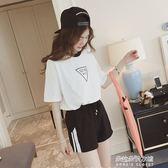 新款韓版休閒運動套闊腿短褲女寬鬆學生高腰顯瘦熱褲潮  朵拉朵衣櫥