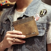 短夾 男士錢包夏季新款磨砂皮錢包正韓男式短版錢夾學生橫皮夾